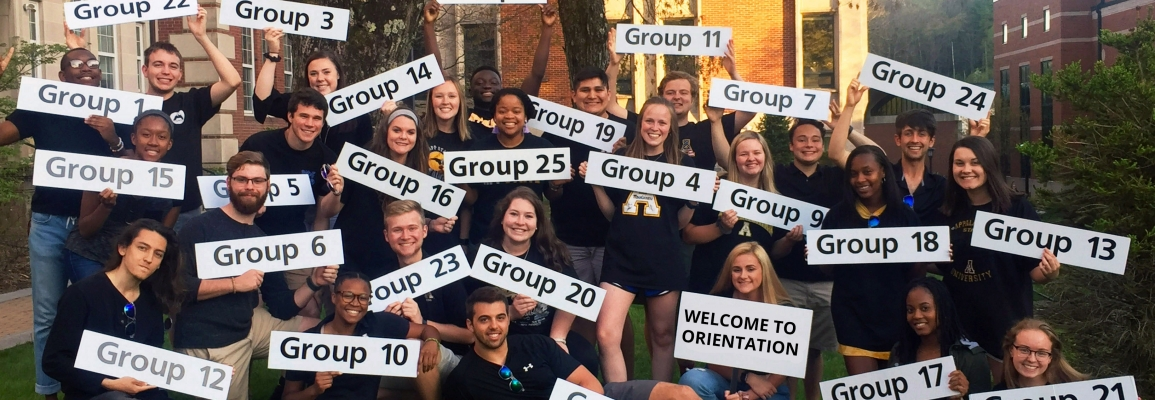 Orientation group with leader holding